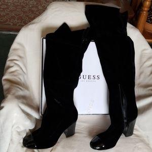 Guess Black Velvet over the knee Boots